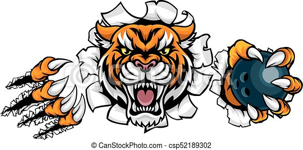 Tiger holding bowling ball breaking background. A tiger ...