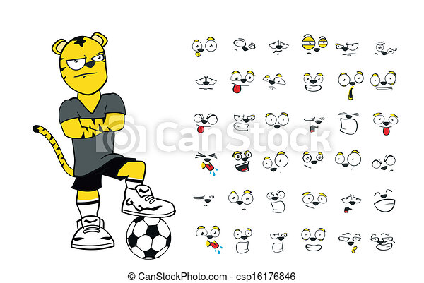 Tiger Kid Soccer Cartoon Set2 Tiger Kid Soccer Cartoon Set In