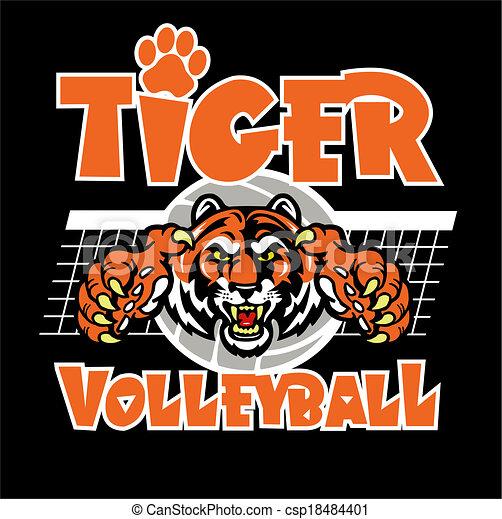 tiger, konstruktion, volleyball - csp18484401