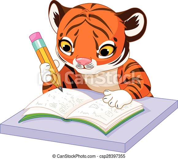 Image result for clipart tiger reading