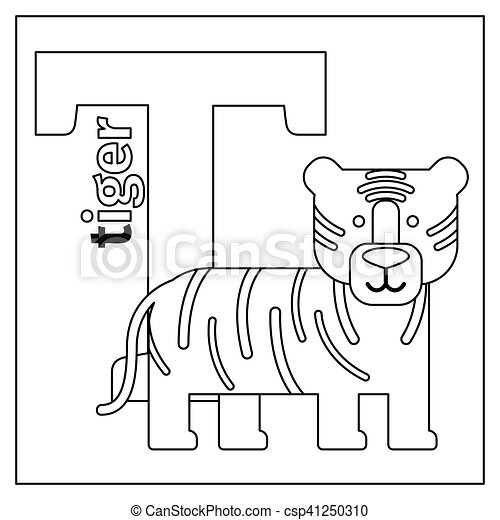 Tiger, letter t coloring page. Coloring page or card for kids with ...