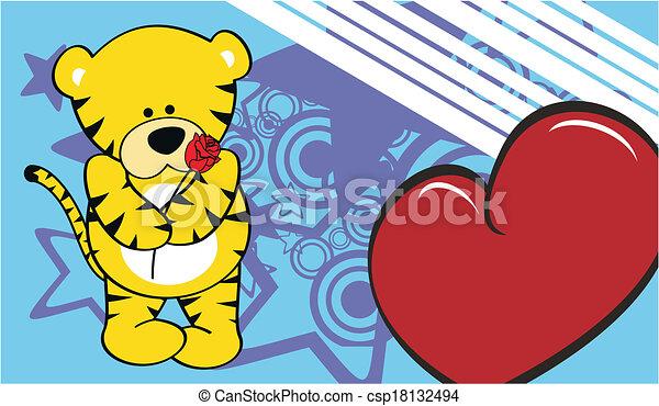 Tiger Love Valentine Wallpaper Cartoon In Vector Format