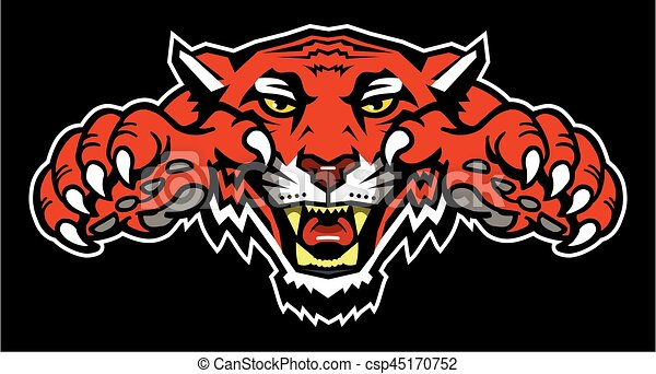 tiger mascot with claws design for school college or league rh canstockphoto com Clemson Tiger Mascot Clip Art tiger mascot clipart black and white