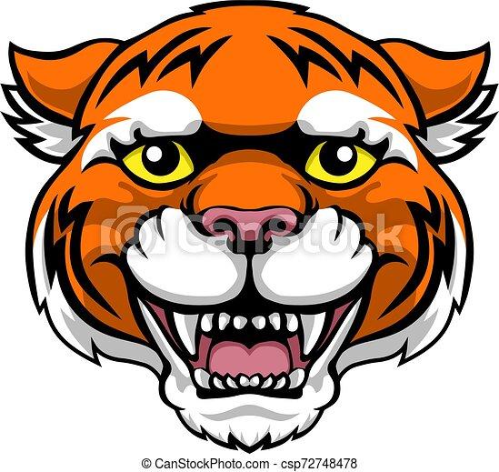 Tiger Mascot Cute Happy Cartoon Character - csp72748478