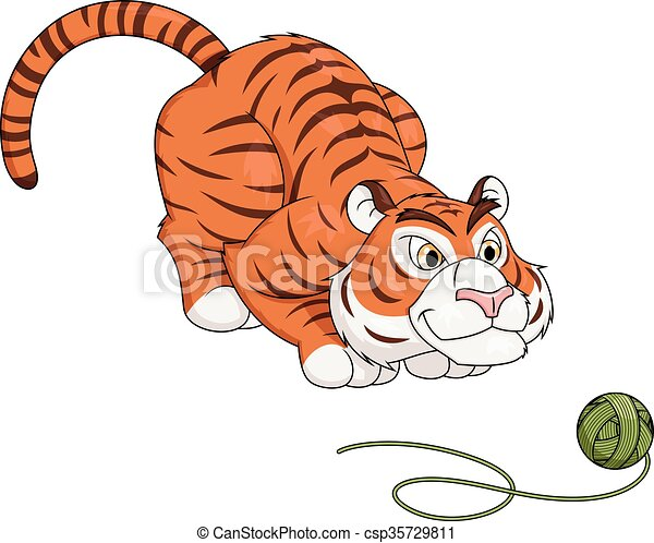 Tiger play with ball of thread 2 - csp35729811