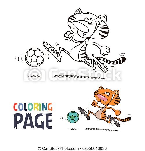 tiger playing football cartoon coloring page - csp56013036