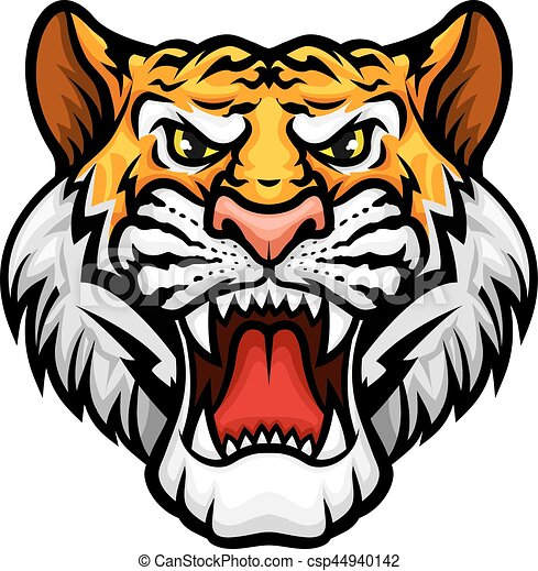 Tiger roaring head muzzle vector mascot icon - csp44940142