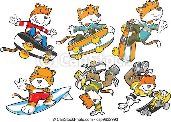 Tiger Skateboard Surf Vector Set - csp9632993