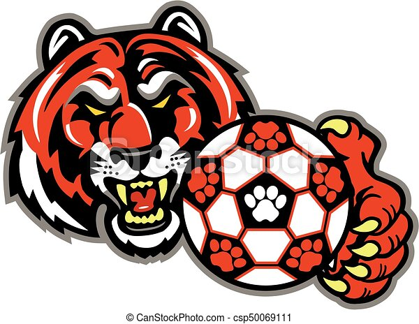 tiger soccer tiger mascot team design with soccer ball for rh canstockphoto com  clemson tiger mascot clipart