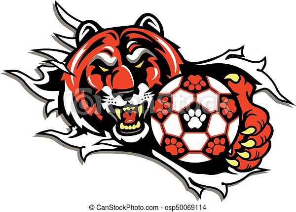 tiger soccer tiger mascot with soccer ball ripping from the rh canstockphoto com tiger mascot clipart black and white tiger mascot clipart free