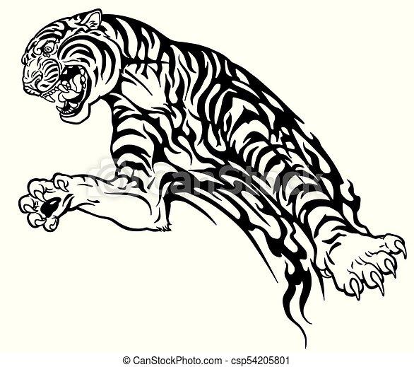 Tiger Tribal Tattoo Black White Tiger In The Jump Aggressive Big