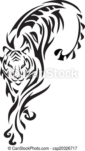 Tiger. Tribal tiger graphics with incorporated fern and ...