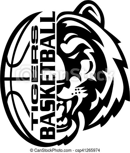 Tigers basketball team design with half mascot face and ...