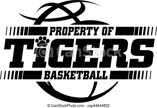 Tigers Basketball Team Design With Ball For School College Or League