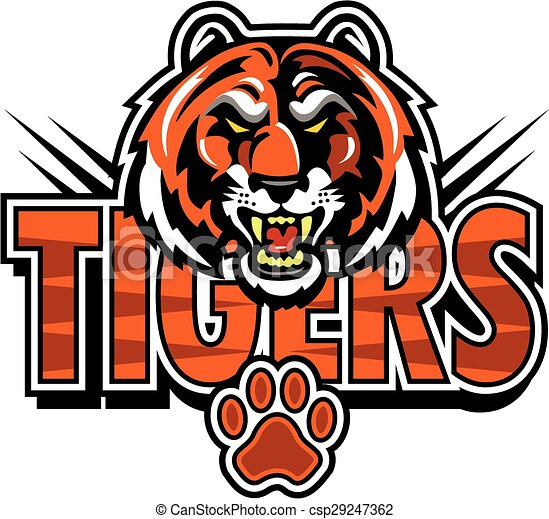 tigers mascot design with face and paw print clip art vector rh canstockphoto com tiger mascot clip art vinyl decal tiger mascot clipart black and white