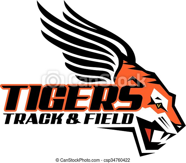 tigers track and field team design with mascot for school vector rh canstockphoto ca vector clipart track and field track and field runners clipart