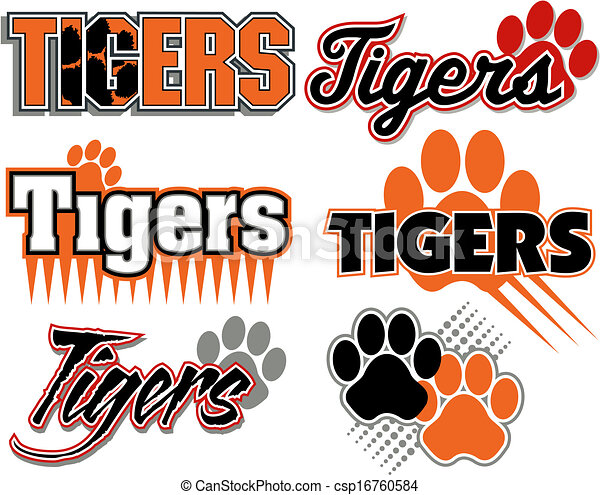 tigers with paw print designs - csp16760584