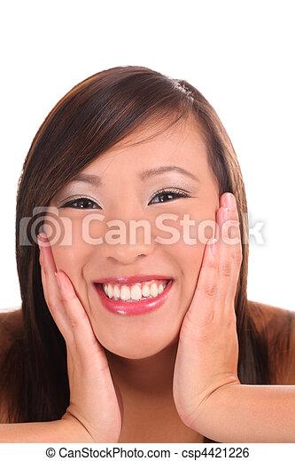 Tight portrait teen asian girl big smile - csp4421226