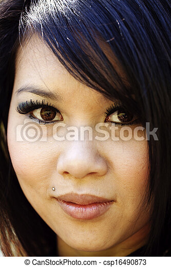 Tight Portrait Young Attractove Asian American Woman - csp16490873