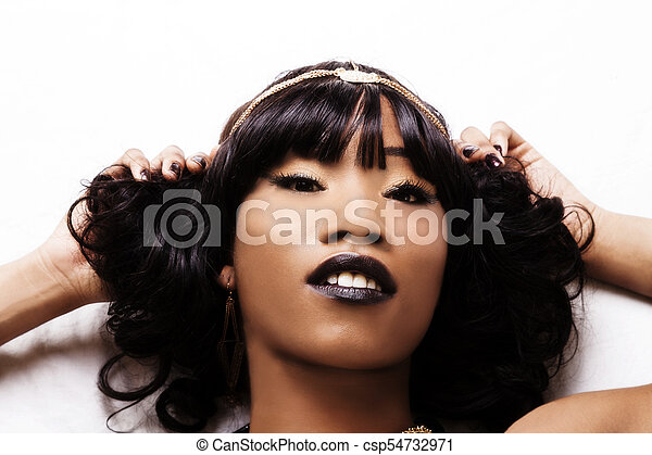 Tight Reclining Portrait Attractive African American Woman - csp54732971