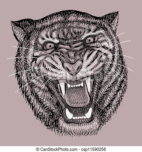 tigre, artistique, dessin - csp11590258