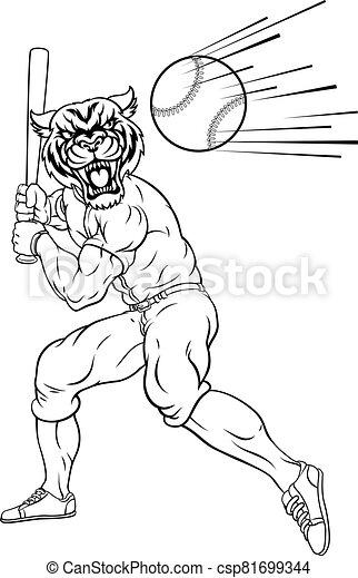 tigre, balanceo, bate de béisbol, pelota, mascota, jugador - csp81699344