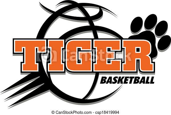 Diseño de baloncesto de tigre - csp18419994