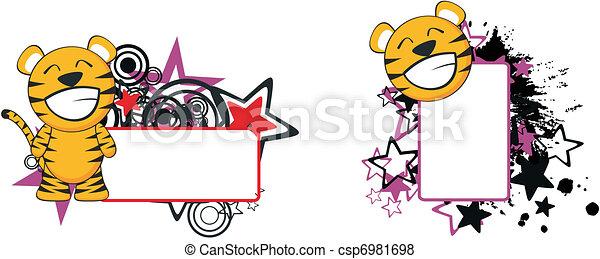 Los dibujos animados del bebé tigre copian el espacio - csp6981698