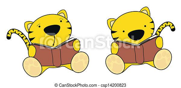 El juego de lectura de dibujos animados de tigre - csp14200823