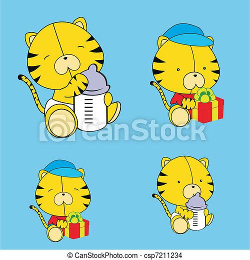 Dibujos infantiles de tigre set8 - csp7211234