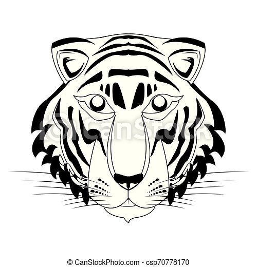 Tigre Bengale Noir Visage Blanc Dessin Animé Icône