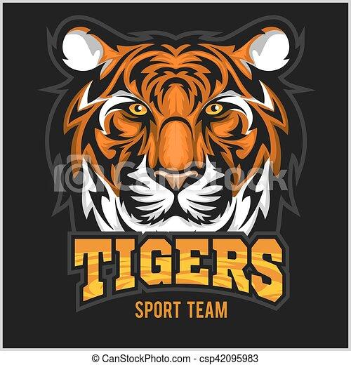 El emblema de la cara de un tigre vector - csp42095983