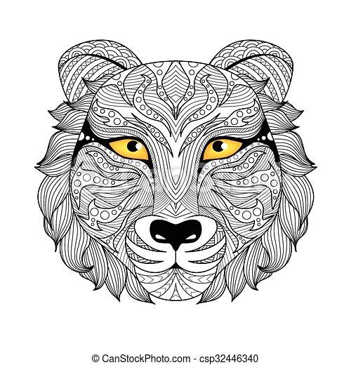 Página de color de tigre - csp32446340