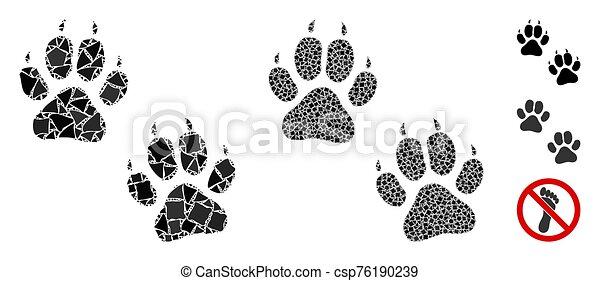 tigre, composición, huellas, icono, humpy, pedazos - csp76190239