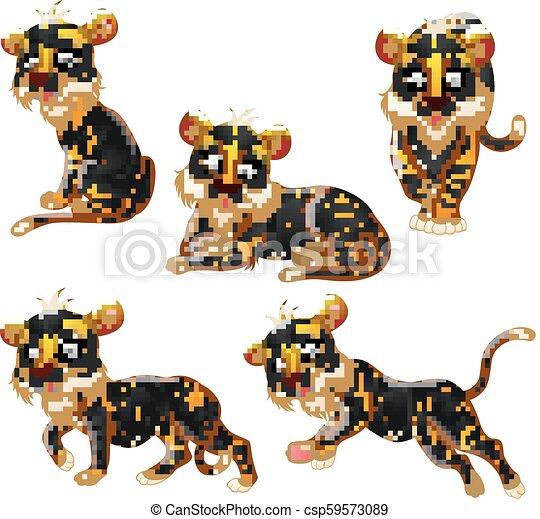 Colección de dibujos de tigre - csp59573089