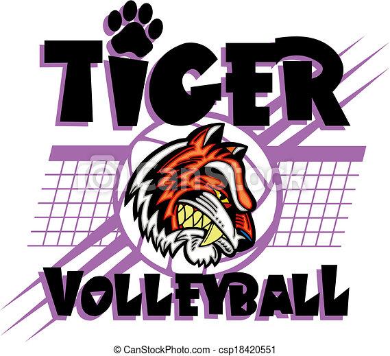 Diseño de voleibol tigre - csp18420551