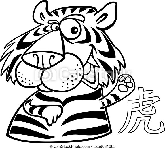 Dessin De Signe Chinois tigre, horoscope, chinois, signe. horoscope chinois, illustration