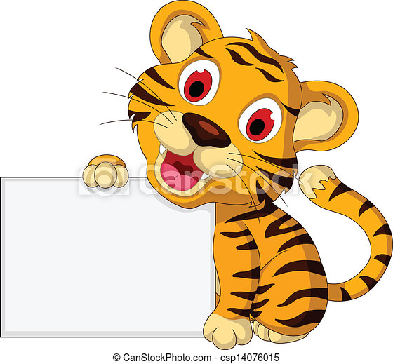 Lindo tigre bebé con señal de blanco - csp14076015