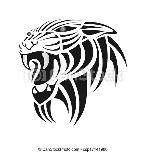 Tigre Noir Blanc Silhouette Fond 10 Silhouette Eps Tigre