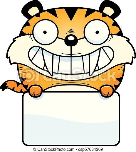 tigre, saber-toothed, señal - csp57634369