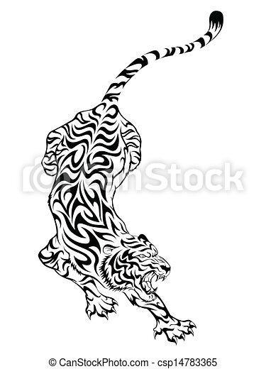 Tatuaje Tigre Tribal tigre, tatuaje, tribal, diseño.