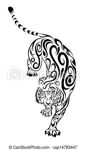 Tatuaje Tigre Tribal tigre, tatuaje, tribal. tigre, tribal, ilustración.