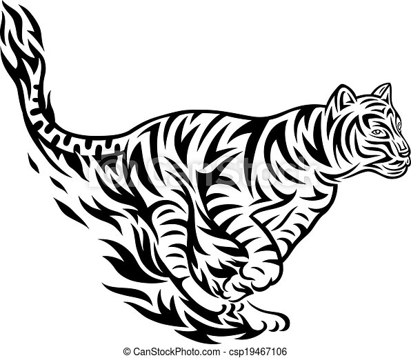 Tatuaje Tigre Tribal tigre, tribal, saltar. tigre, tatuaje, arte, saltar, diseño.