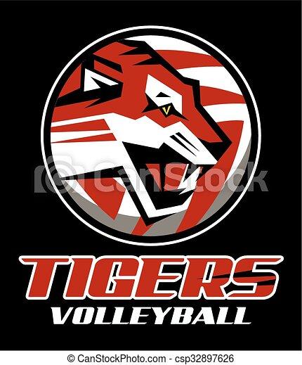 Voleibol de tigres - csp32897626