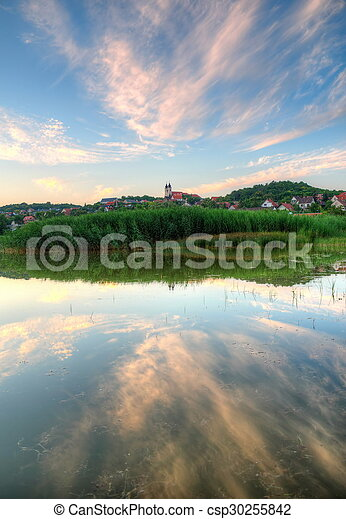 Tihany abbey in Hungary at lake Balaton - csp30255842
