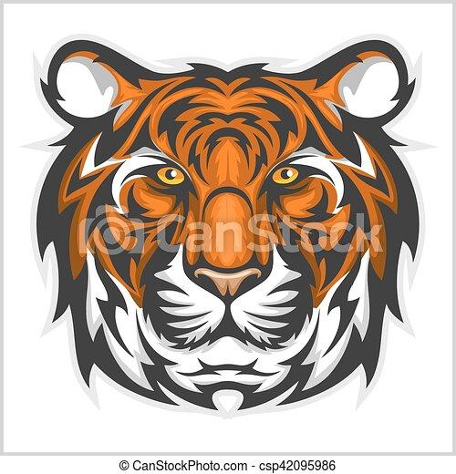 tijgers, illustratie, tiger, vector, head., face. - csp42095986