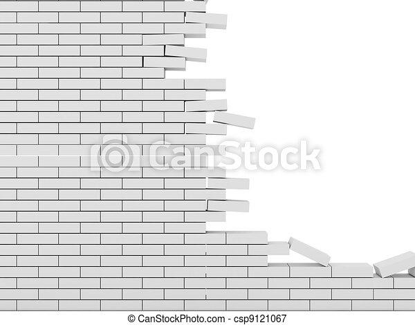 tijolo, fundo, parede, isolado, quebrada, branca - csp9121067