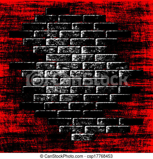 tijolos, abstratos, interior., experiência escura, grungy, vermelho - csp17768453