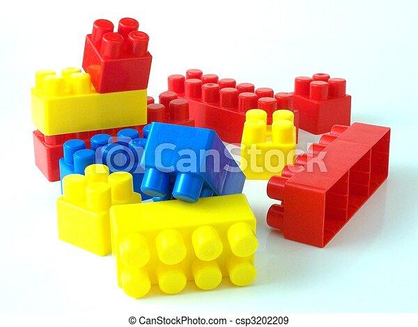 tijolos, brinquedo plástico, bricksplastic - csp3202209