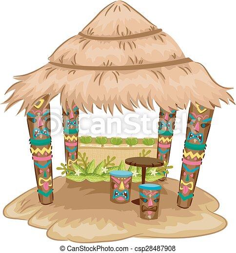 tiki hut house illustration of a tiki themed hut with tiki face rh canstockphoto com Grass Hut Clip Art Hut Clip Art